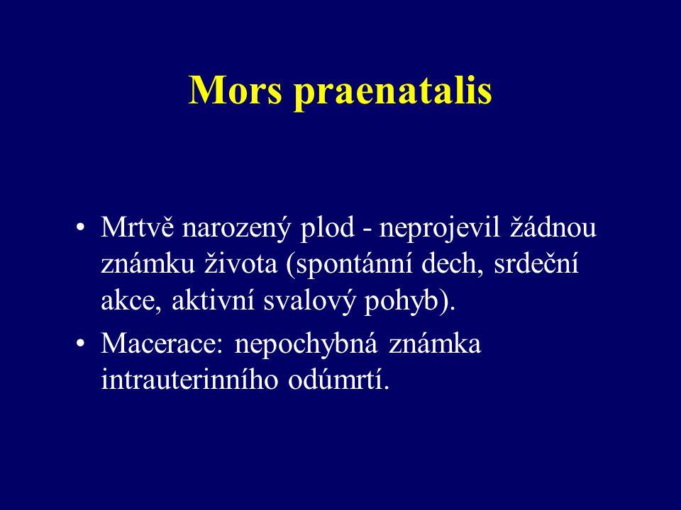 Mors praenatalis Mrtvě narozený plod - neprojevil žádnou známku života (spontánní dech, srdeční akce, aktivní svalový pohyb).
