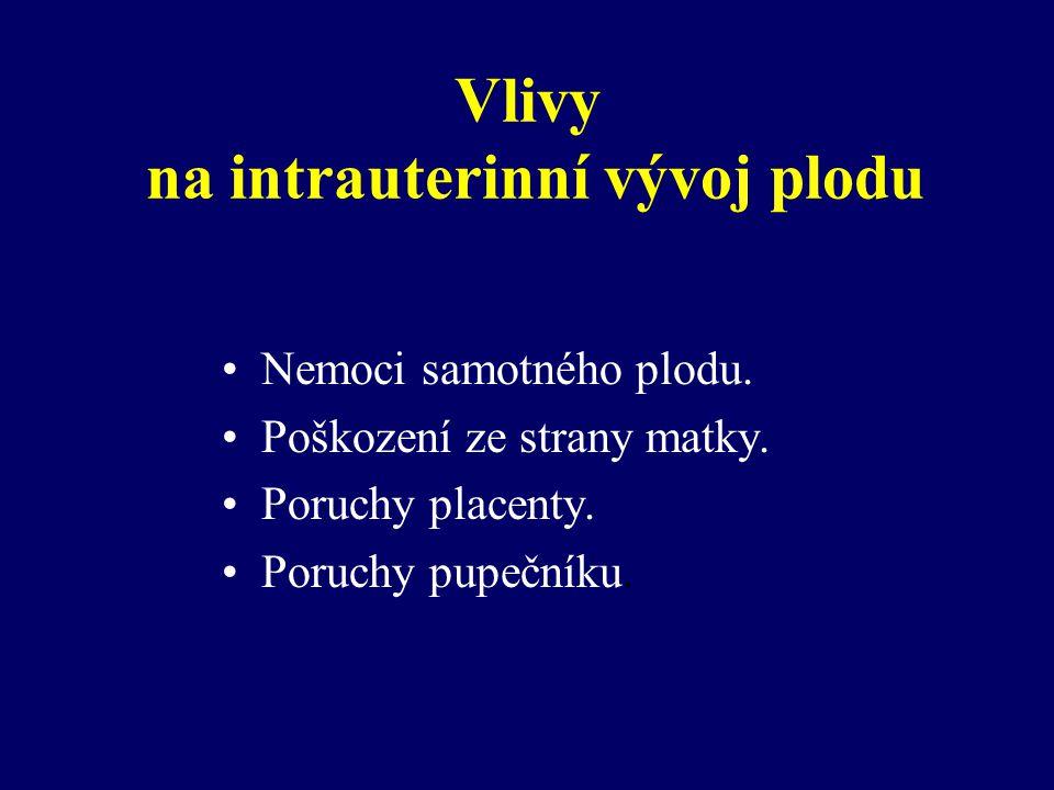 Vlivy na intrauterinní vývoj plodu Nemoci samotného plodu.