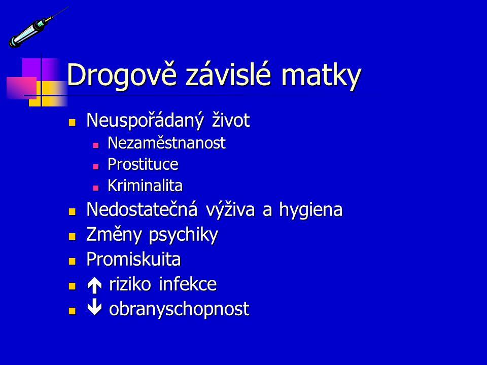 Drogově závislé matky Neuspořádaný život Neuspořádaný život Nezaměstnanost Nezaměstnanost Prostituce Prostituce Kriminalita Kriminalita Nedostatečná v