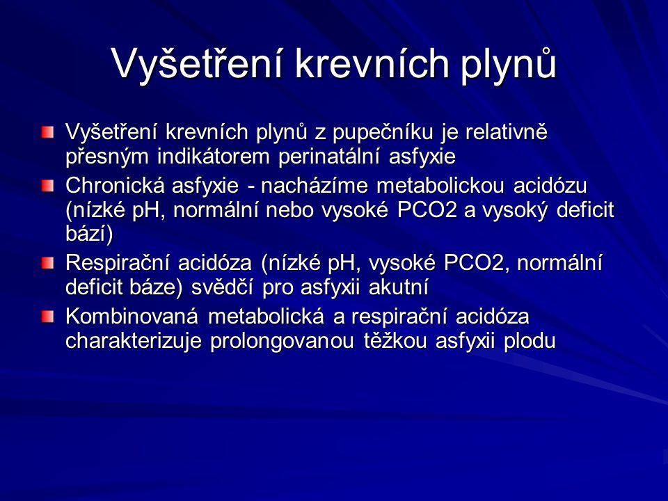 Vyšetření krevních plynů Vyšetření krevních plynů z pupečníku je relativně přesným indikátorem perinatální asfyxie Chronická asfyxie - nacházíme metab