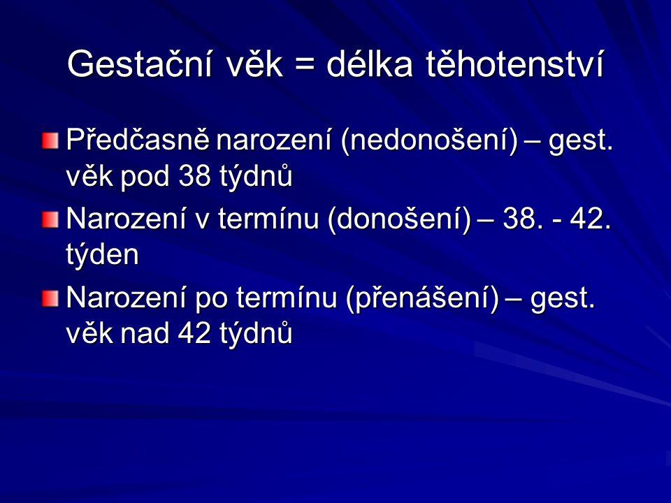 Gestační věk = délka těhotenství Předčasně narození (nedonošení) – gest. věk pod 38 týdnů Narození v termínu (donošení) – 38. - 42. týden Narození po