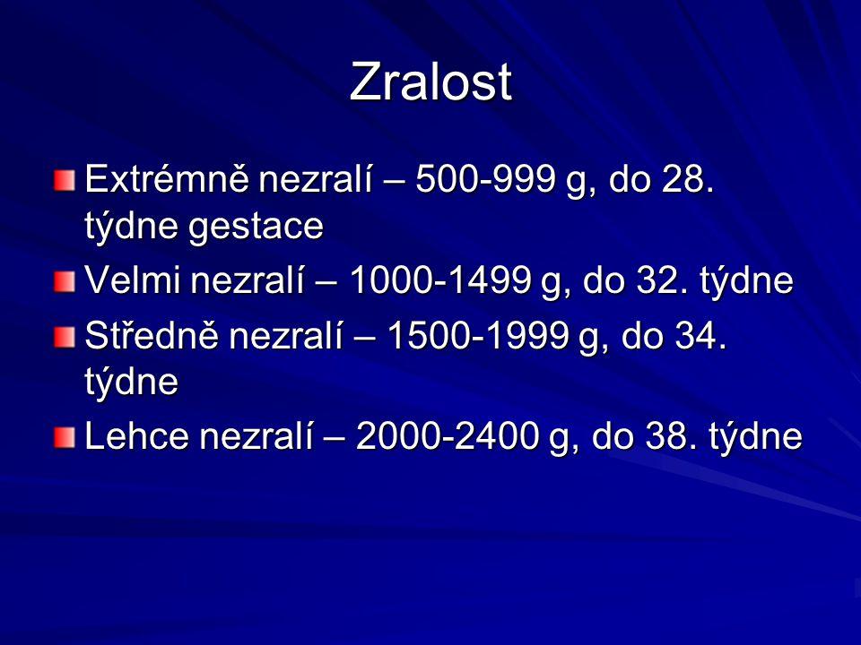 Zralost Extrémně nezralí – 500-999 g, do 28. týdne gestace Velmi nezralí – 1000-1499 g, do 32. týdne Středně nezralí – 1500-1999 g, do 34. týdne Lehce