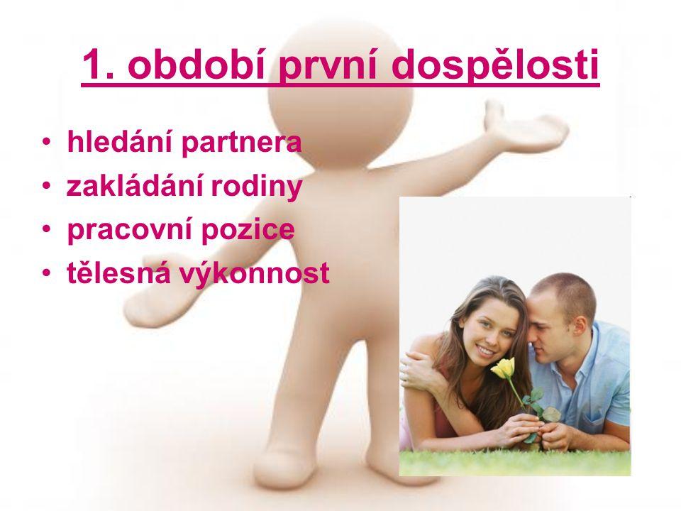 1. období první dospělosti hledání partnera zakládání rodiny pracovní pozice tělesná výkonnost