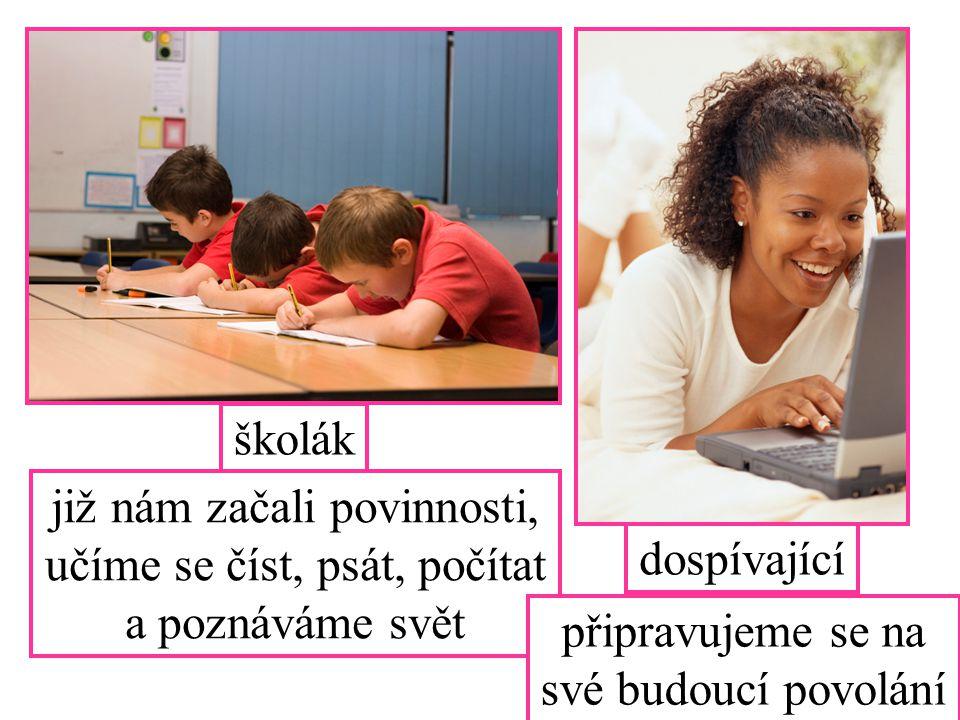 již nám začali povinnosti, učíme se číst, psát, počítat a poznáváme svět dospívající školák připravujeme se na své budoucí povolání
