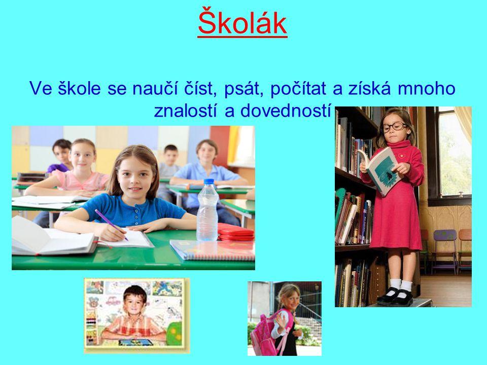 Školák Ve škole se naučí číst, psát, počítat a získá mnoho znalostí a dovedností