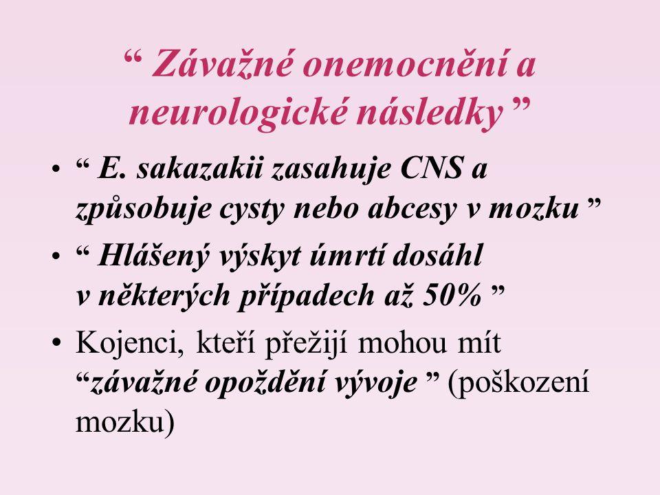 """"""" Závažné onemocnění a neurologické následky """" """" E. sakazakii zasahuje CNS a způsobuje cysty nebo abcesy v mozku """" """" Hlášený výskyt úmrtí dosáhl v něk"""