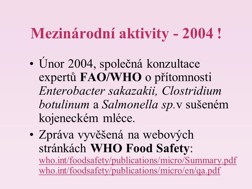 Mezinárodní aktivity - 2004 ! Únor 2004, společná konzultace expertů FAO/WHO o přítomnosti Enterobacter sakazakii, Clostridium botulinum a Salmonella