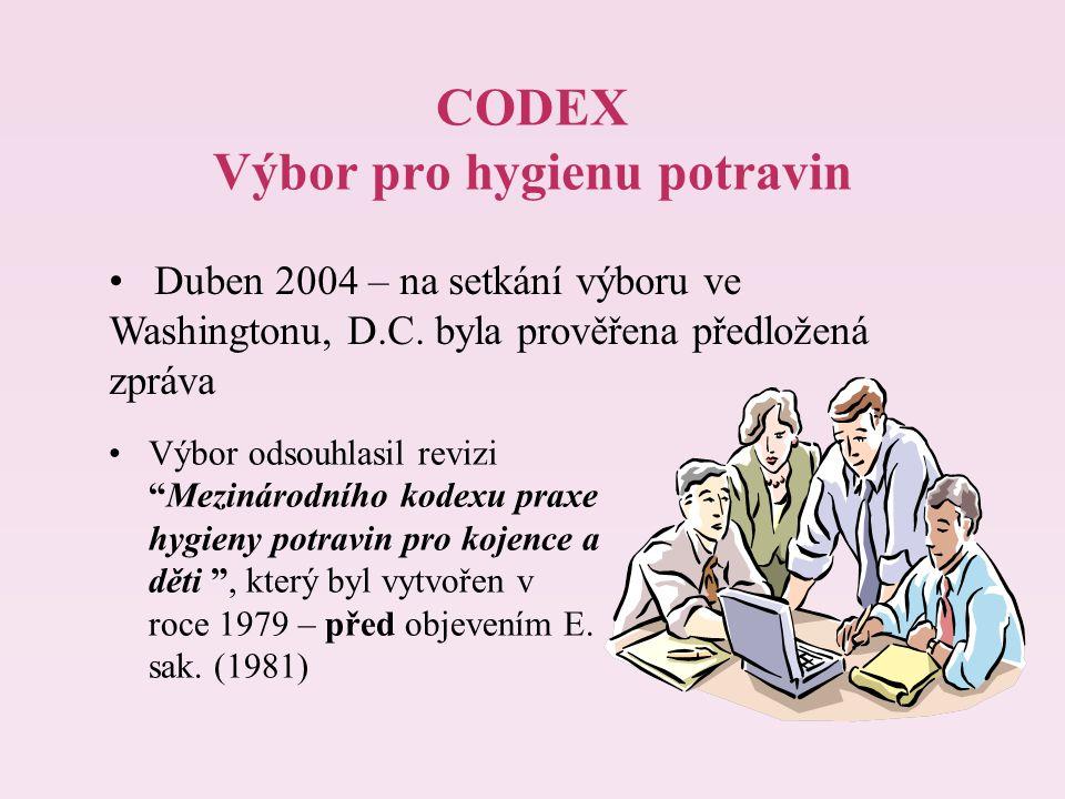 """CODEX Výbor pro hygienu potravin Výbor odsouhlasil revizi """"Mezinárodního kodexu praxe hygieny potravin pro kojence a děti """", který byl vytvořen v roce"""