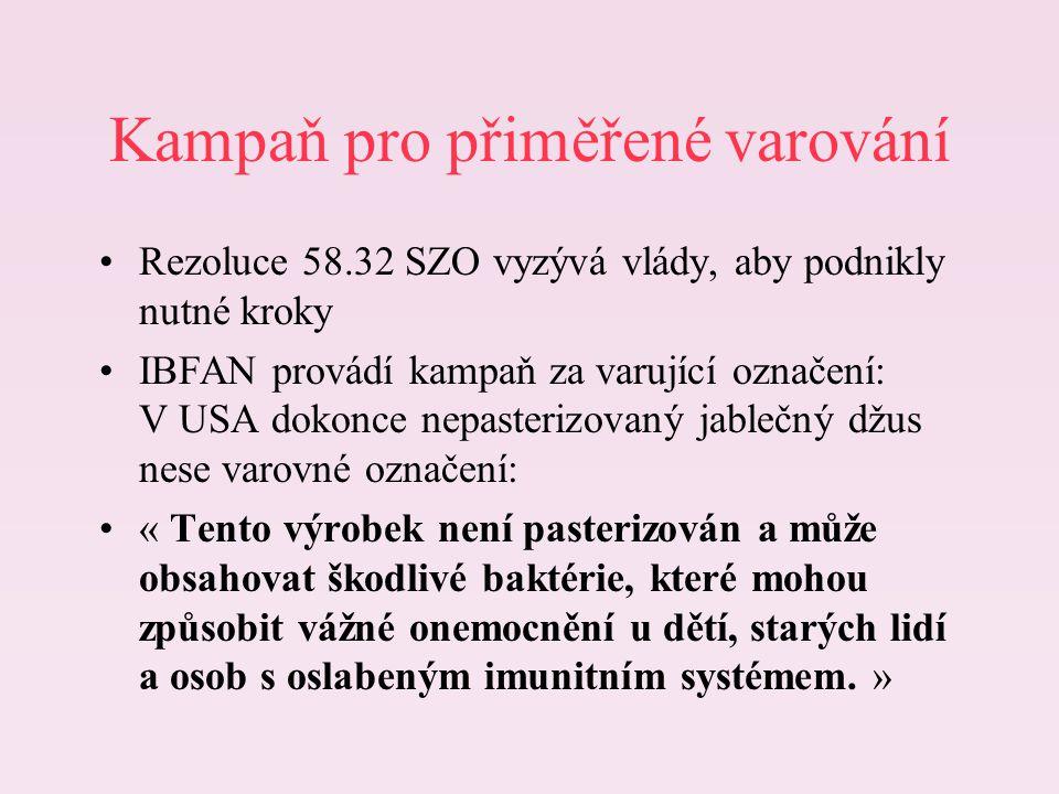 Kampaň pro přiměřené varování Rezoluce 58.32 SZO vyzývá vlády, aby podnikly nutné kroky IBFAN provádí kampaň za varující označení: V USA dokonce nepas