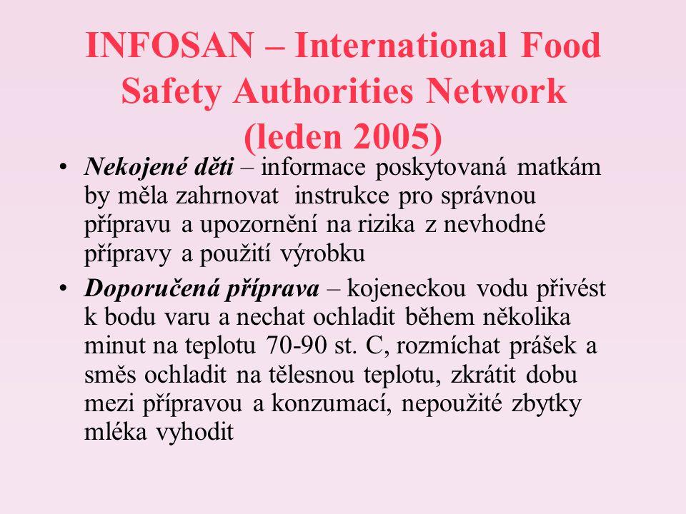 INFOSAN – International Food Safety Authorities Network (leden 2005) Nekojené děti – informace poskytovaná matkám by měla zahrnovat instrukce pro sprá