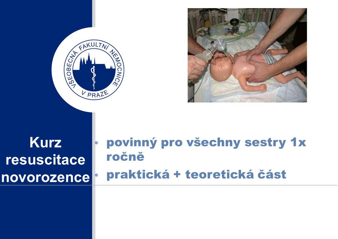 Kurz resuscitace novorozence povinný pro všechny sestry 1x ročně praktická + teoretická část
