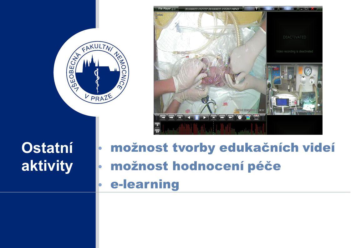 Ostatní aktivity možnost tvorby edukačních videí možnost hodnocení péče e-learning