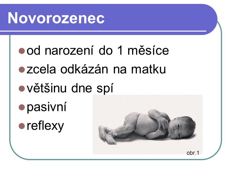 Novorozenec od narození do 1 měsíce zcela odkázán na matku většinu dne spí pasivní reflexy obr.1