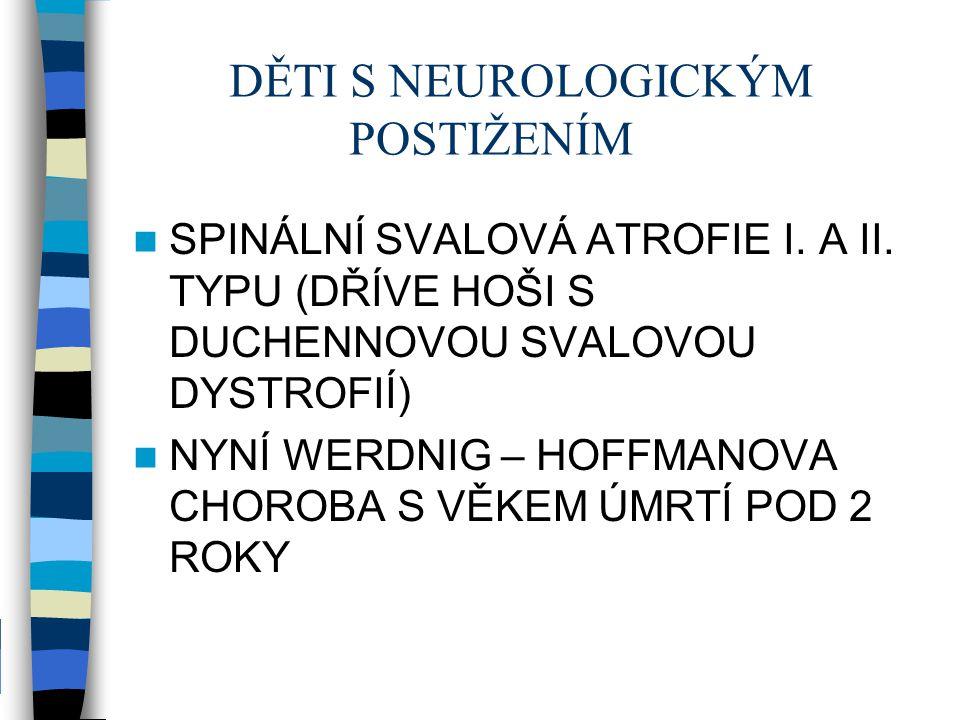 DĚTI S NEUROLOGICKÝM POSTIŽENÍM SPINÁLNÍ SVALOVÁ ATROFIE I. A II. TYPU (DŘÍVE HOŠI S DUCHENNOVOU SVALOVOU DYSTROFIÍ) NYNÍ WERDNIG – HOFFMANOVA CHOROBA