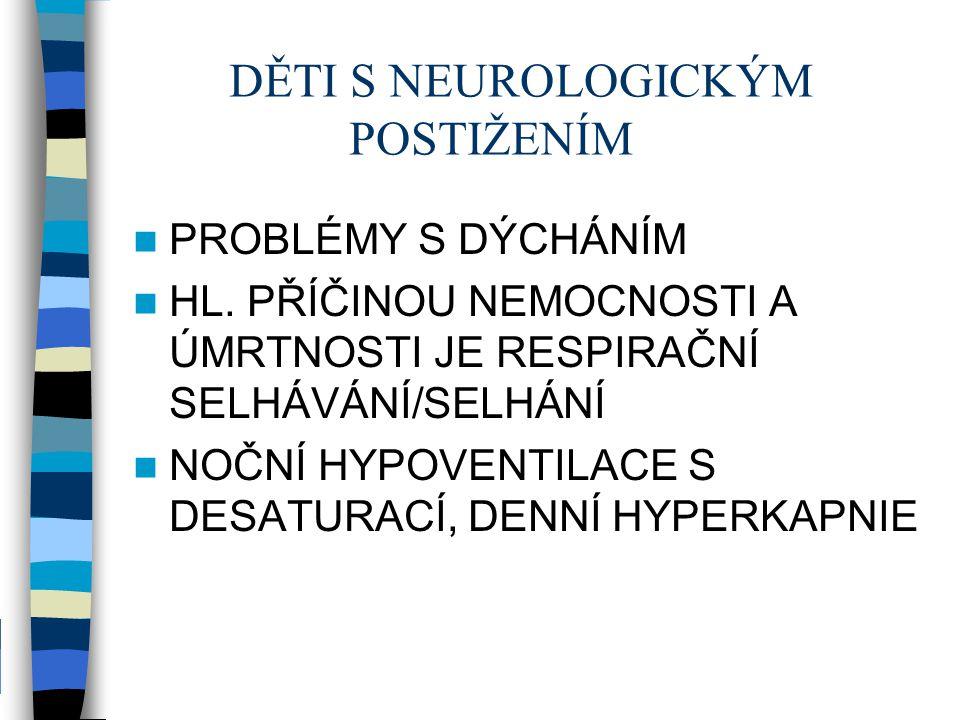 DĚTI S NEUROLOGICKÝM POSTIŽENÍM PROBLÉMY S DÝCHÁNÍM HL. PŘÍČINOU NEMOCNOSTI A ÚMRTNOSTI JE RESPIRAČNÍ SELHÁVÁNÍ/SELHÁNÍ NOČNÍ HYPOVENTILACE S DESATURA