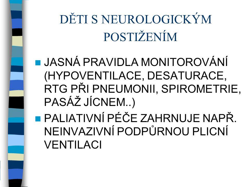 DĚTI S NEUROLOGICKÝM POSTIŽENÍM JASNÁ PRAVIDLA MONITOROVÁNÍ (HYPOVENTILACE, DESATURACE, RTG PŘI PNEUMONII, SPIROMETRIE, PASÁŽ JÍCNEM..) PALIATIVNÍ PÉČ