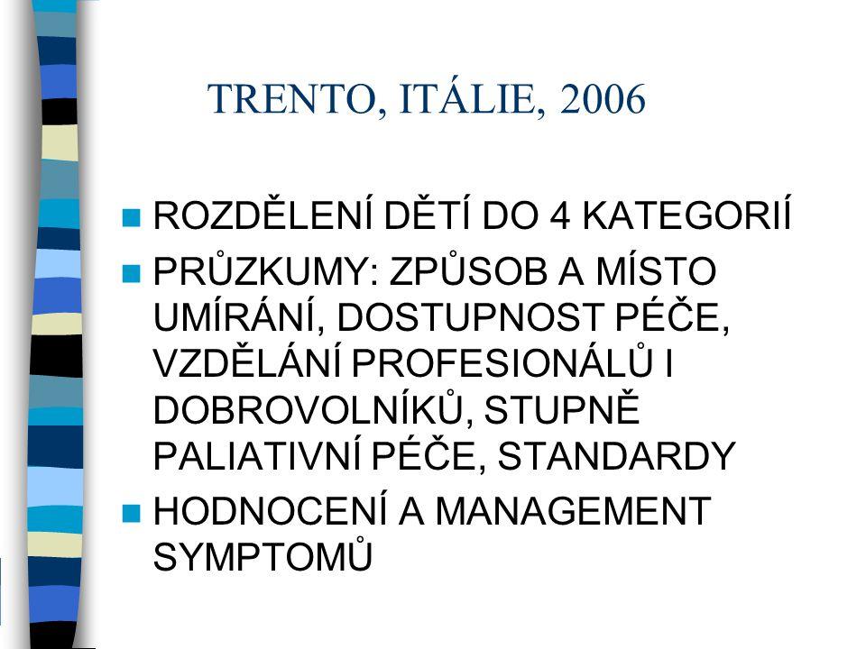 TRENTO, ITÁLIE, 2006 ROZDĚLENÍ DĚTÍ DO 4 KATEGORIÍ PRŮZKUMY: ZPŮSOB A MÍSTO UMÍRÁNÍ, DOSTUPNOST PÉČE, VZDĚLÁNÍ PROFESIONÁLŮ I DOBROVOLNÍKŮ, STUPNĚ PAL