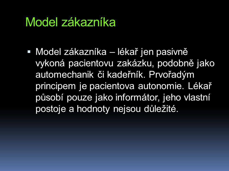 Model zákazníka  Model zákazníka – lékař jen pasivně vykoná pacientovu zakázku, podobně jako automechanik či kadeřník. Prvořadým principem je pacient