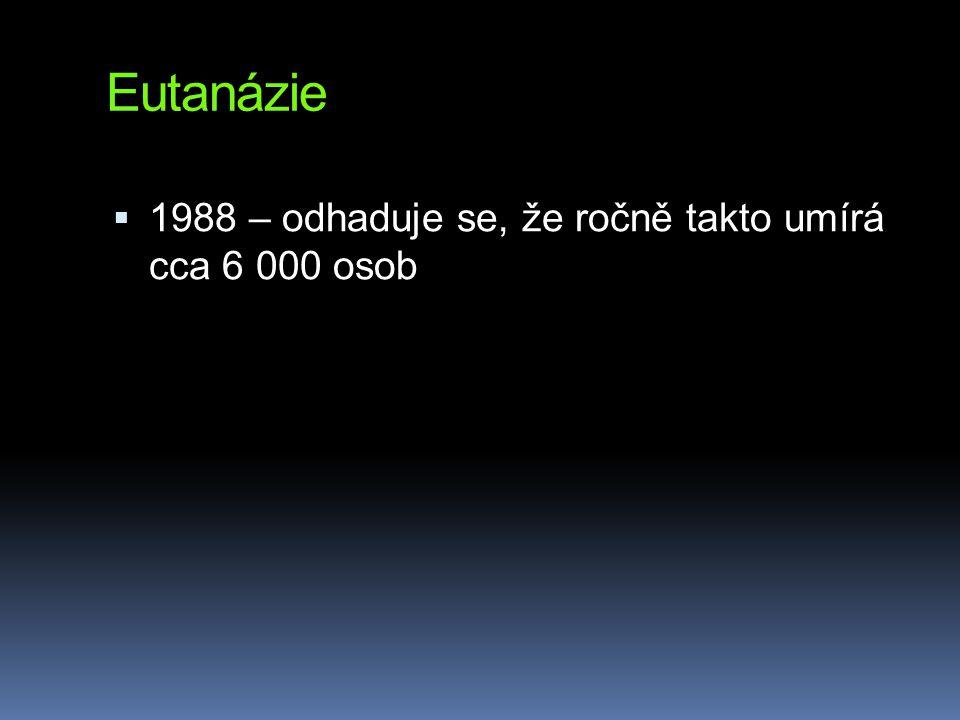 Eutanázie  1988 – odhaduje se, že ročně takto umírá cca 6 000 osob