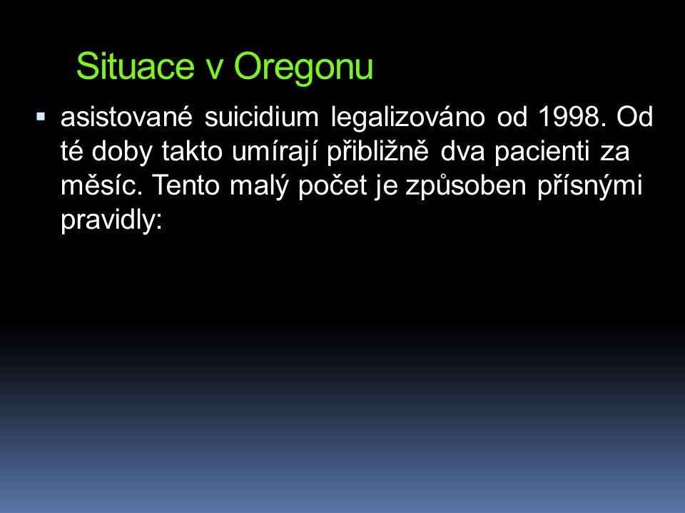 Situace v Oregonu  asistované suicidium legalizováno od 1998. Od té doby takto umírají přibližně dva pacienti za měsíc. Tento malý počet je způsoben