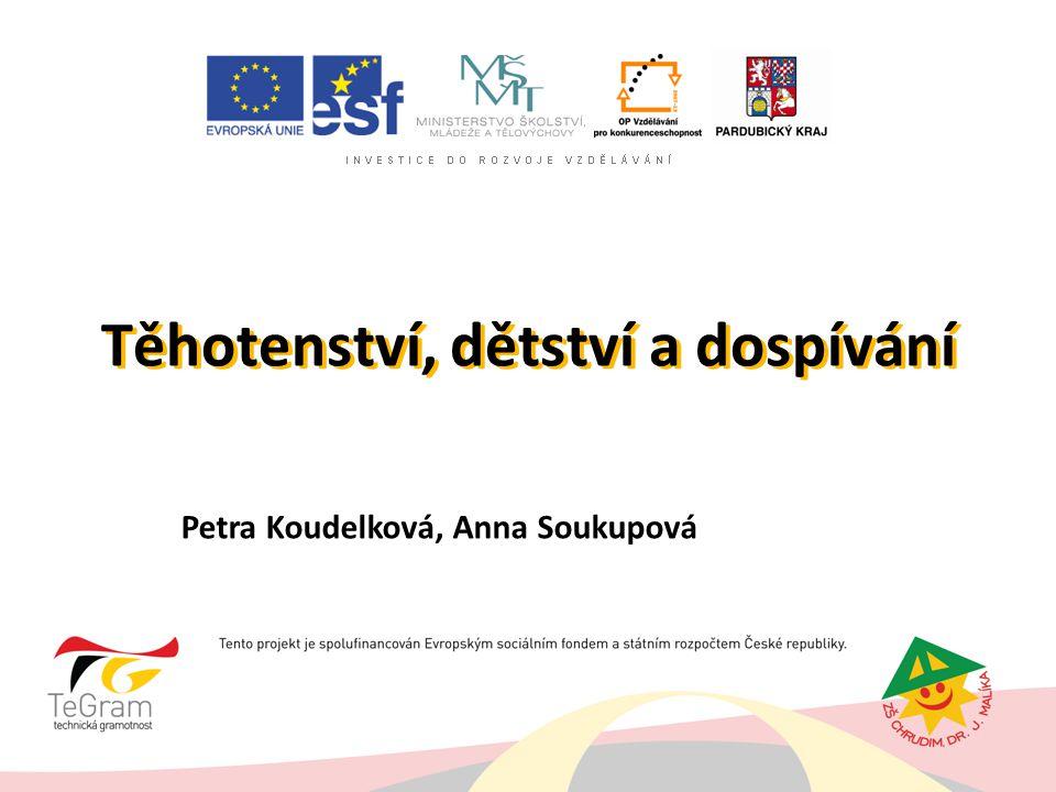 Těhotenství, dětství a dospívání Petra Koudelková, Anna Soukupová