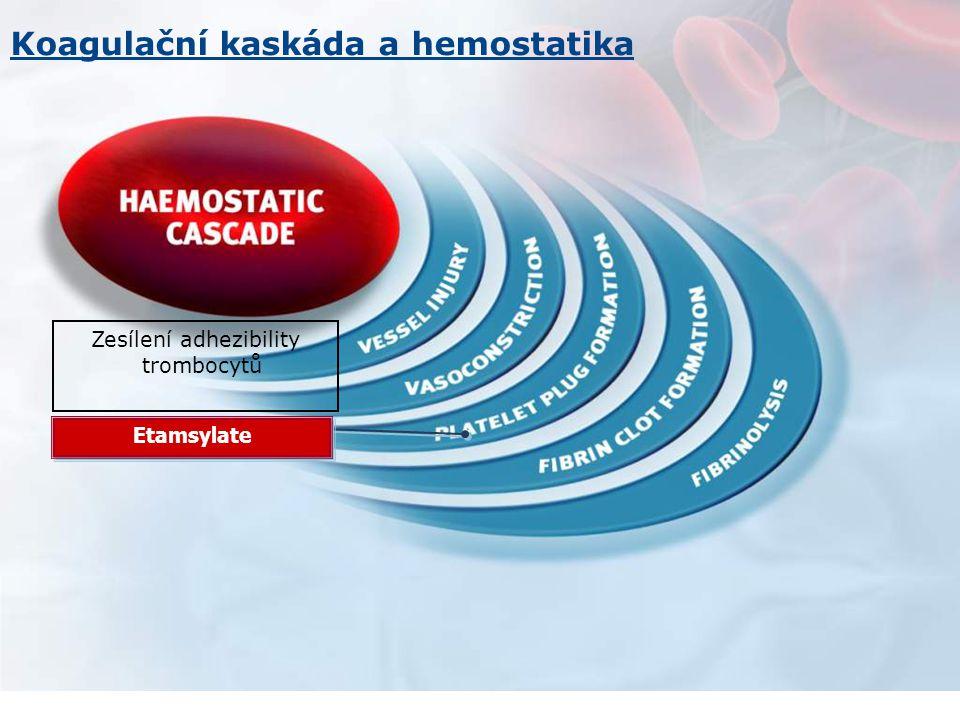 Zesílení adhezibility trombocytů Etamsylate Koagulační kaskáda a hemostatika