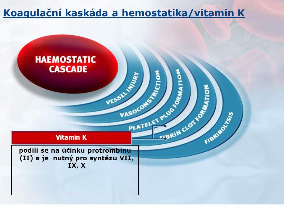podílí se na účinku protrombinu (II) a je nutný pro syntézu VII, IX, X Vitamin K Koagulační kaskáda a hemostatika/vitamin K