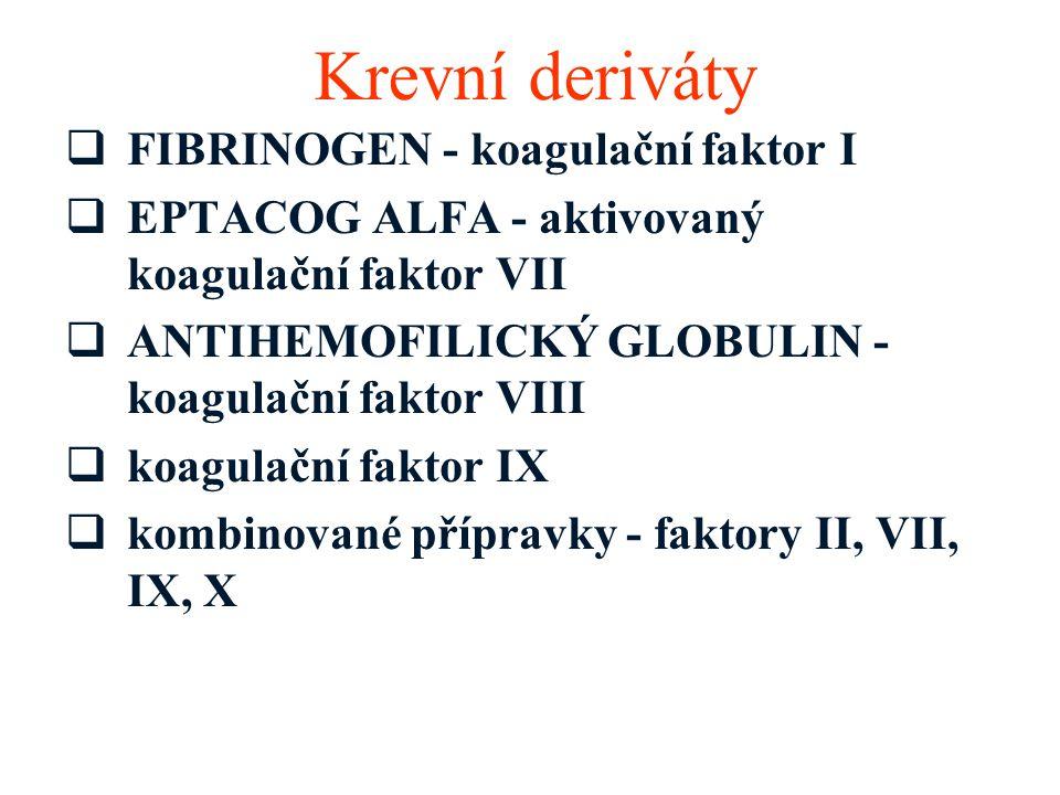 Krevní deriváty  FIBRINOGEN - koagulační faktor I  EPTACOG ALFA - aktivovaný koagulační faktor VII  ANTIHEMOFILICKÝ GLOBULIN - koagulační faktor VI