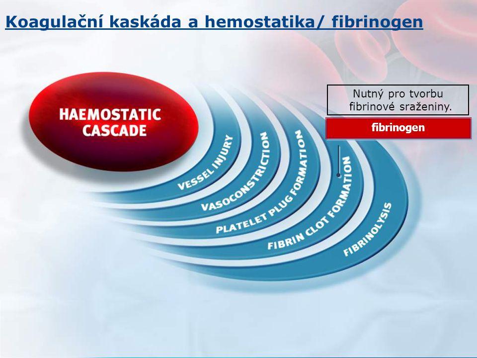Nutný pro tvorbu fibrinové sraženiny. fibrinogen Koagulační kaskáda a hemostatika/ fibrinogen