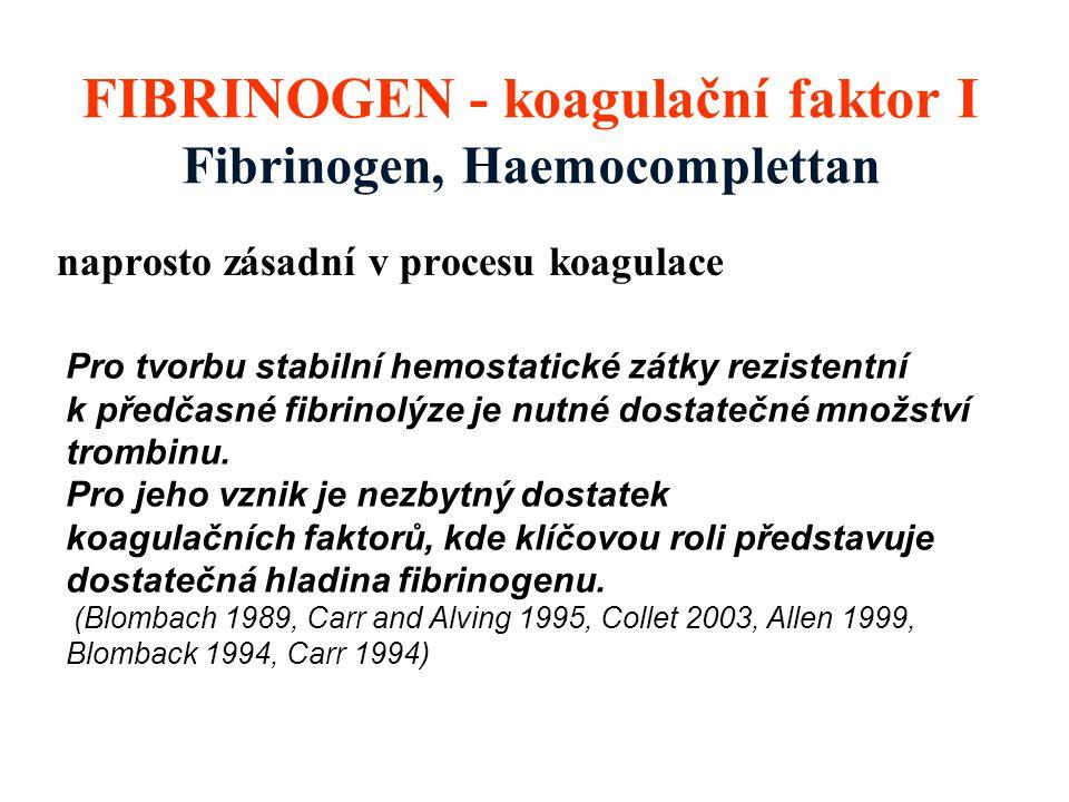 FIBRINOGEN - koagulační faktor I Fibrinogen, Haemocomplettan naprosto zásadní v procesu koagulace Pro tvorbu stabilní hemostatické zátky rezistentní k