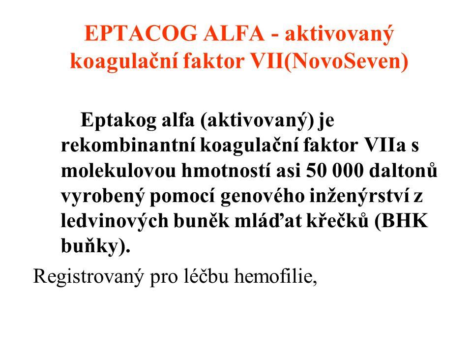 EPTACOG ALFA - aktivovaný koagulační faktor VII(NovoSeven) Eptakog alfa (aktivovaný) je rekombinantní koagulační faktor VIIa s molekulovou hmotností a