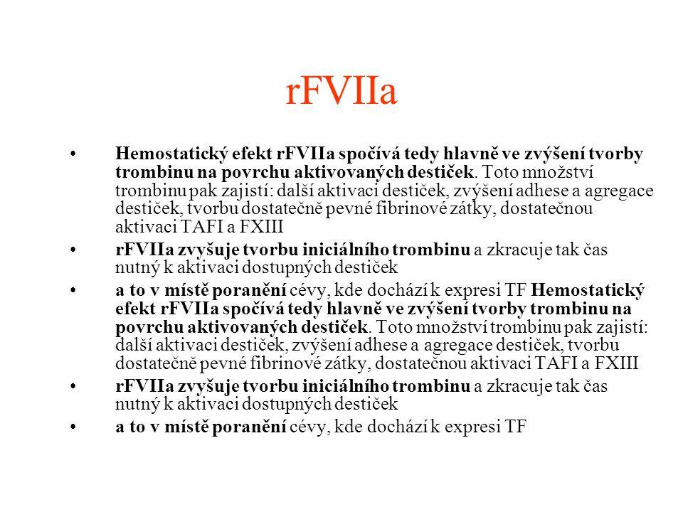 rFVIIa Hemostatický efekt rFVIIa spočívá tedy hlavně ve zvýšení tvorby trombinu na povrchu aktivovaných destiček. Toto množství trombinu pak zajistí: