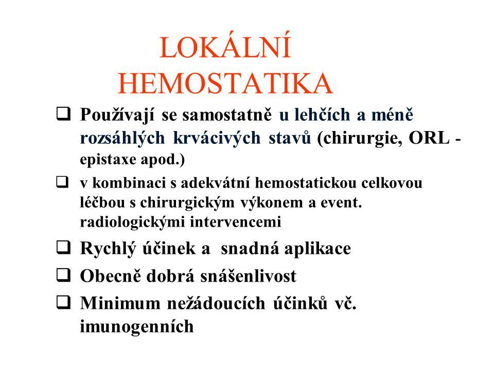 LOKÁLNÍ HEMOSTATIKA  Používají se samostatně u lehčích a méně rozsáhlých krvácivých stavů (chirurgie, ORL - epistaxe apod.)  v kombinaci s adekvátní