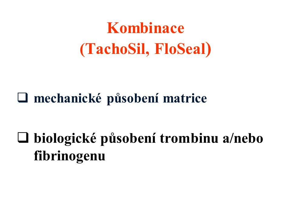  mechanické působení matrice  biologické působení trombinu a/nebo fibrinogenu Kombinace (TachoSil, FloSeal )