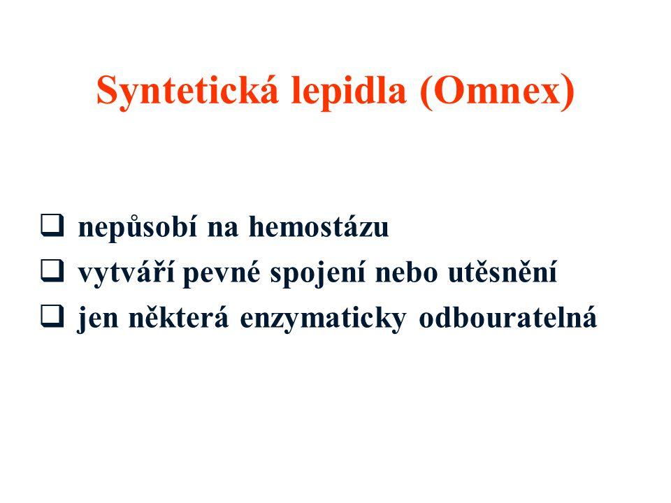  nepůsobí na hemostázu  vytváří pevné spojení nebo utěsnění  jen některá enzymaticky odbouratelná Syntetická lepidla (Omnex )