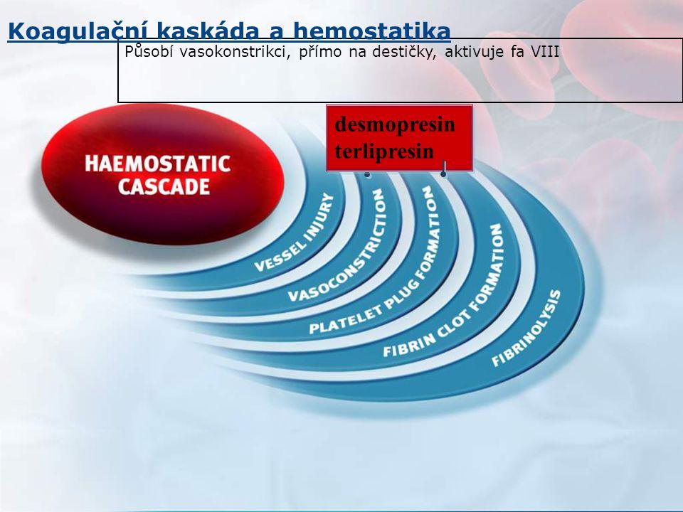 Působí vasokonstrikci, přímo na destičky, aktivuje fa VIII desmopresin terlipresin desmopresin terlipresin Koagulační kaskáda a hemostatika