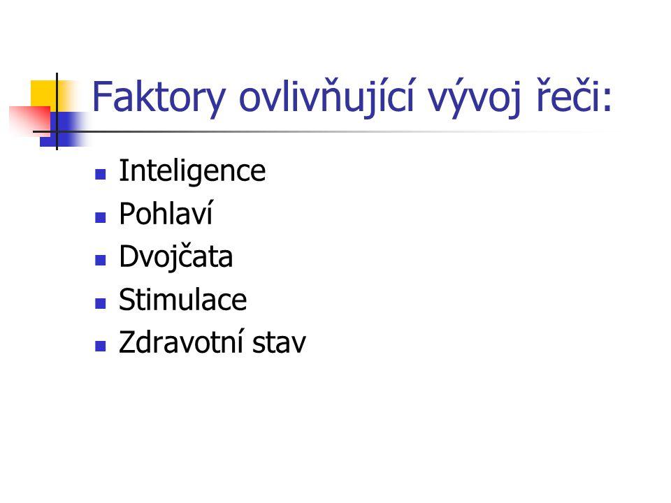 Faktory ovlivňující vývoj řeči: Inteligence Pohlaví Dvojčata Stimulace Zdravotní stav