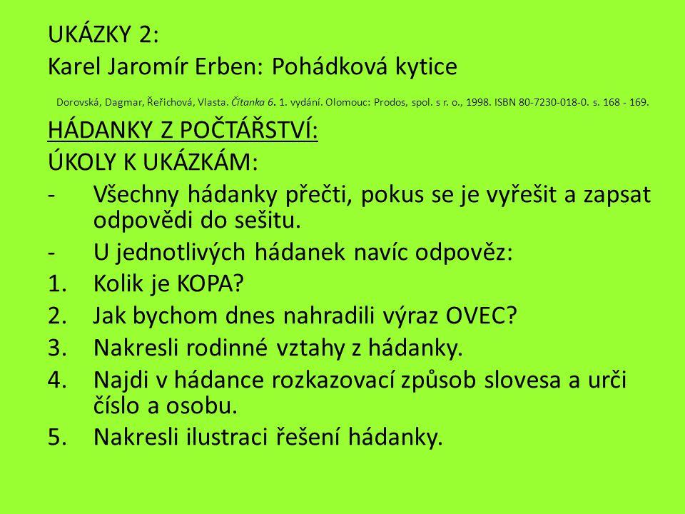 Dorovská, Dagmar, Řeřichová, Vlasta. Čítanka 6. 1. vydání. Olomouc: Prodos, spol. s r. o., 1998. ISBN 80-7230-018-0. s. 168 - 169. UKÁZKY 2: Karel Jar