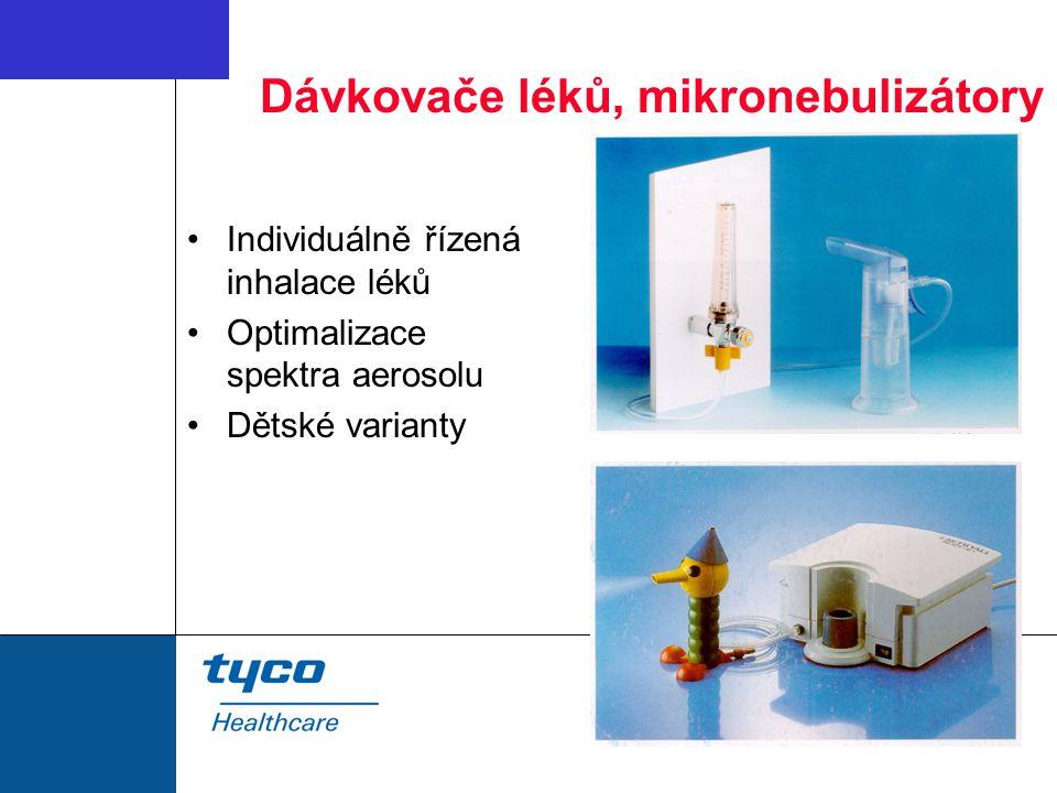 Dávkovače léků, mikronebulizátory Individuálně řízená inhalace léků Optimalizace spektra aerosolu Dětské varianty