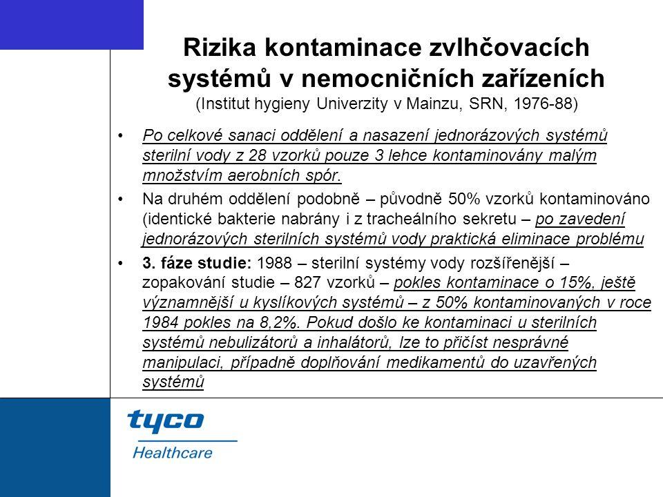 Rizika kontaminace zvlhčovacích systémů v nemocničních zařízeních (Institut hygieny Univerzity v Mainzu, SRN, 1976-88) Po celkové sanaci oddělení a nasazení jednorázových systémů sterilní vody z 28 vzorků pouze 3 lehce kontaminovány malým množstvím aerobních spór.