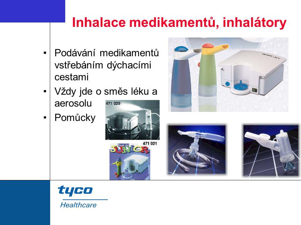 Inhalace medikamentů, inhalátory Podávání medikamentů vstřebáním dýchacími cestami Vždy jde o směs léku a aerosolu Pomůcky