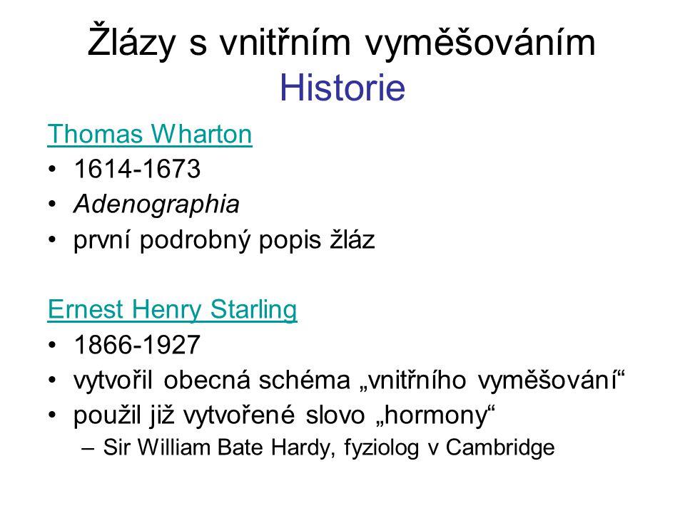 Žlázy s vnitřním vyměšováním Historie Thomas Wharton 1614-1673 Adenographia první podrobný popis žláz Ernest Henry Starling 1866-1927 vytvořil obecná