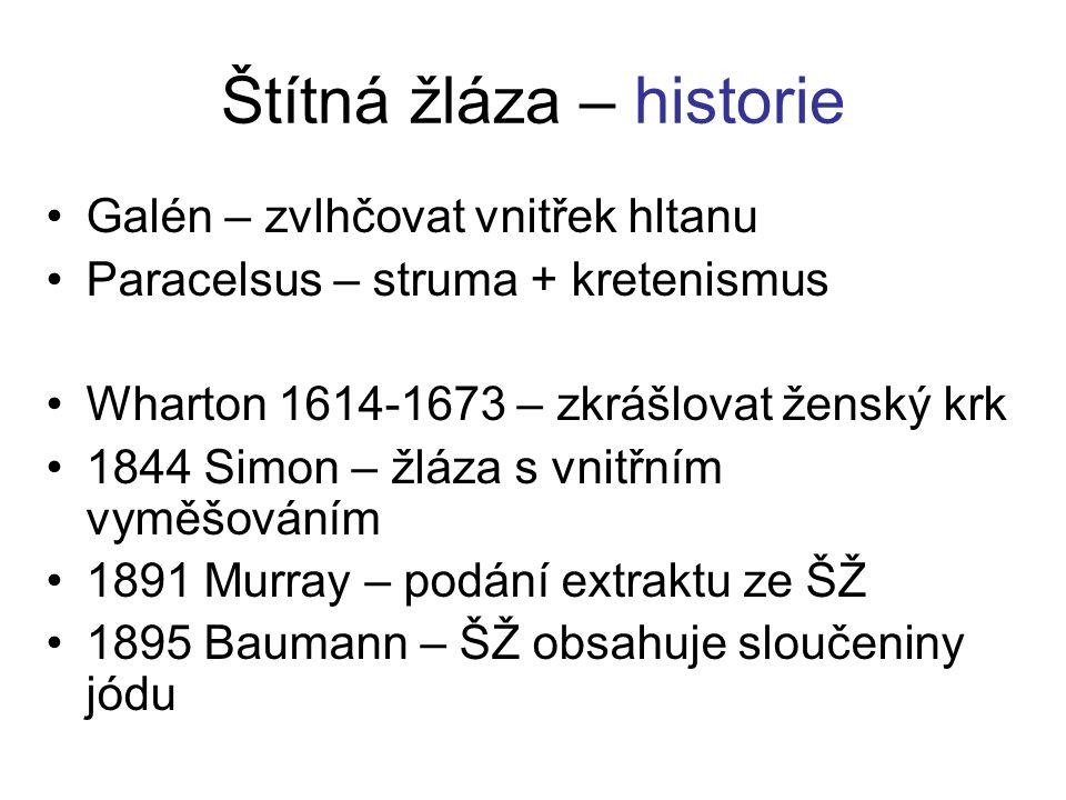 Štítná žláza – historie Galén – zvlhčovat vnitřek hltanu Paracelsus – struma + kretenismus Wharton 1614-1673 – zkrášlovat ženský krk 1844 Simon – žláz