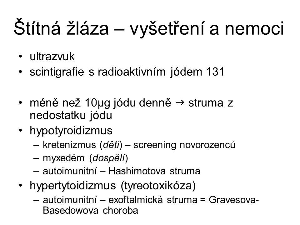Štítná žláza – vyšetření a nemoci ultrazvuk scintigrafie s radioaktivním jódem 131 méně než 10μg jódu denně  struma z nedostatku jódu hypotyroidizmus