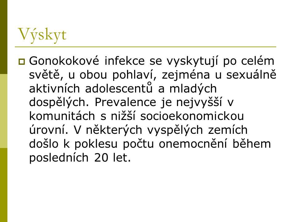 Výskyt  Gonokokové infekce se vyskytují po celém světě, u obou pohlaví, zejména u sexuálně aktivních adolescentů a mladých dospělých. Prevalence je n
