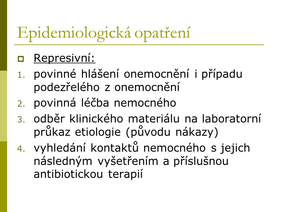 Epidemiologická opatření  Represivní: 1. povinné hlášení onemocnění i případu podezřelého z onemocnění 2. povinná léčba nemocného 3. odběr klinického