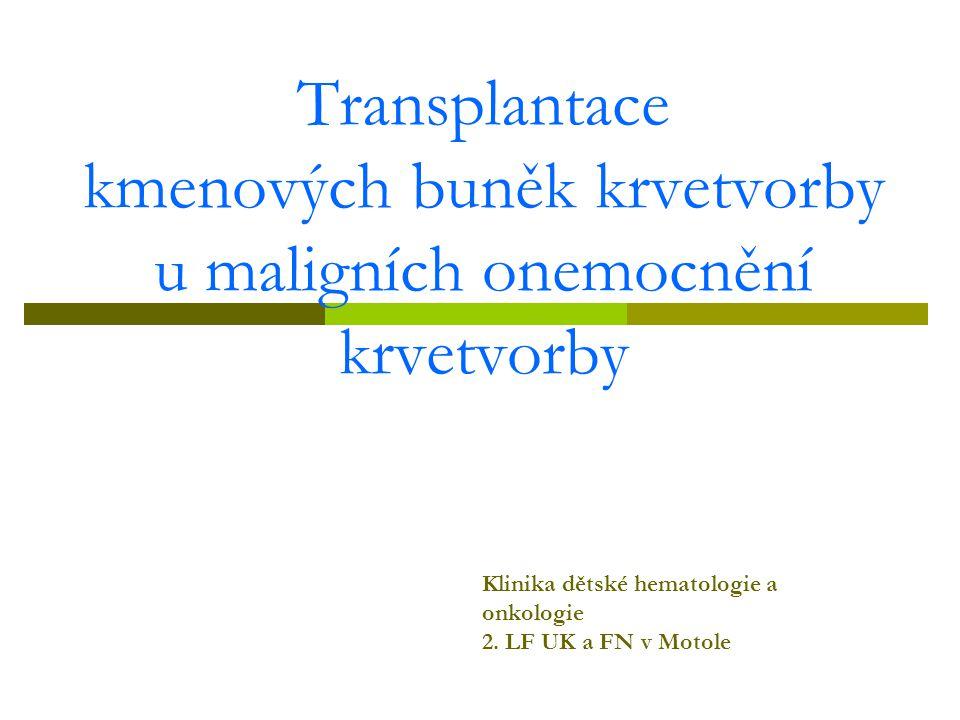 Transplantace kmenových buněk krvetvorby u maligních onemocnění krvetvorby Klinika dětské hematologie a onkologie 2. LF UK a FN v Motole