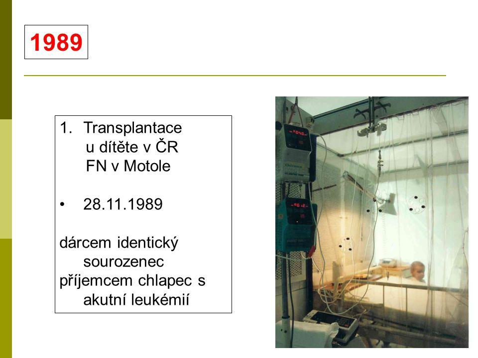 1.Transplantace u dítěte v ČR FN v Motole 28.11.1989 dárcem identický sourozenec příjemcem chlapec s akutní leukémií 1989