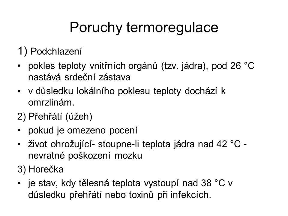 Poruchy termoregulace 1) Podchlazení pokles teploty vnitřních orgánů (tzv. jádra), pod 26 °C nastává srdeční zástava v důsledku lokálního poklesu tepl