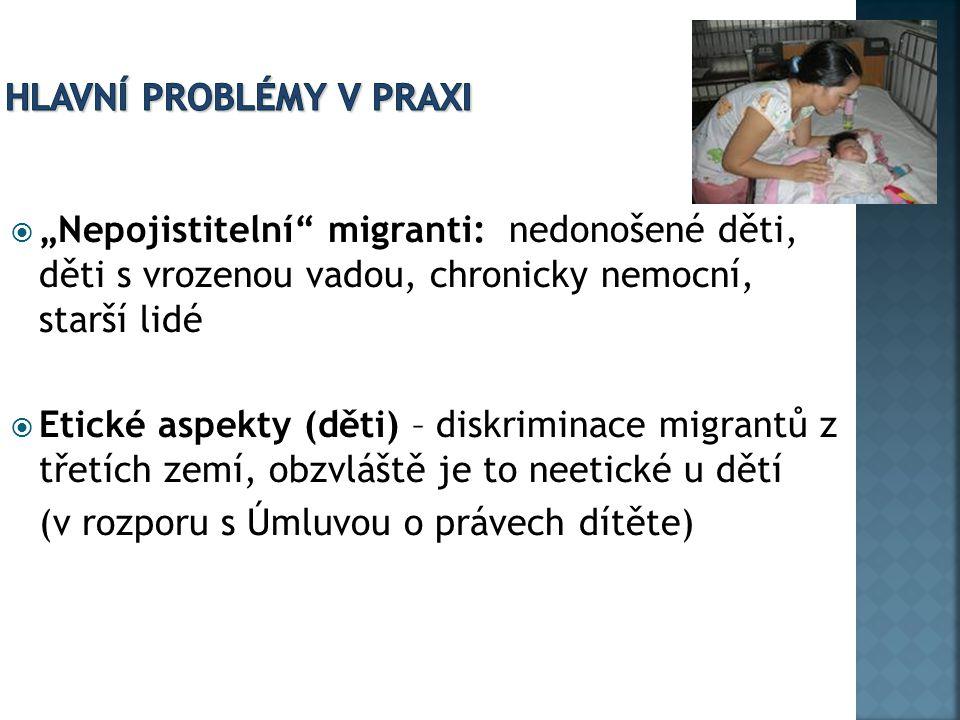 """ """"Nepojistitelní"""" migranti: nedonošené děti, děti s vrozenou vadou, chronicky nemocní, starší lidé  Etické aspekty (děti) – diskriminace migrantů z"""